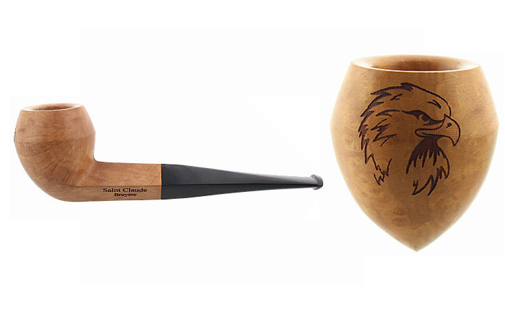 Pipe gravée aigle