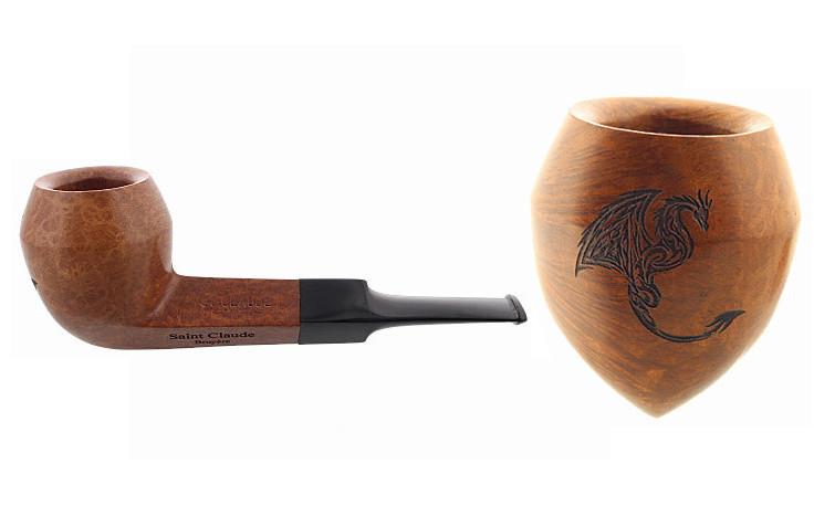 Pipe gravée dragon