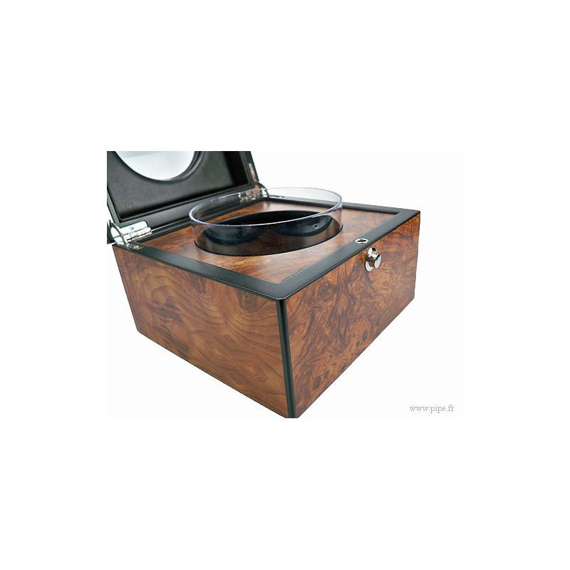 pot tabac en loupe d 39 orme avec une partie vitr e la pipe rit. Black Bedroom Furniture Sets. Home Design Ideas