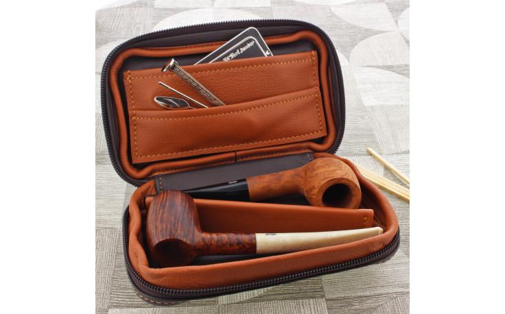 Housse Claudio Albieri pour 2 pipes (beige/marron)