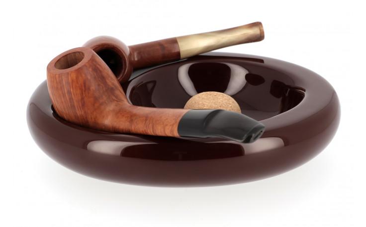 Cendrier en céramique pour 2 pipes (marron)