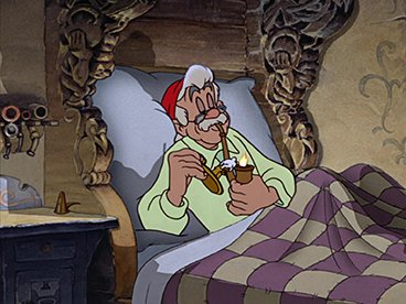 Geppetto fume sa pipe au lit