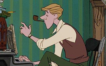 Roger dans Les 101 Dalmatiens fume la pipe