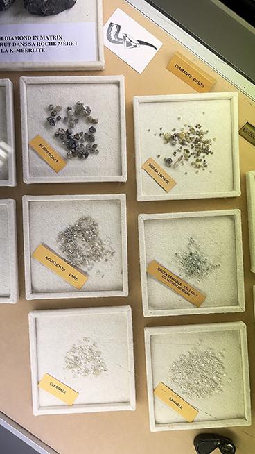 Exposition de diamants bruts
