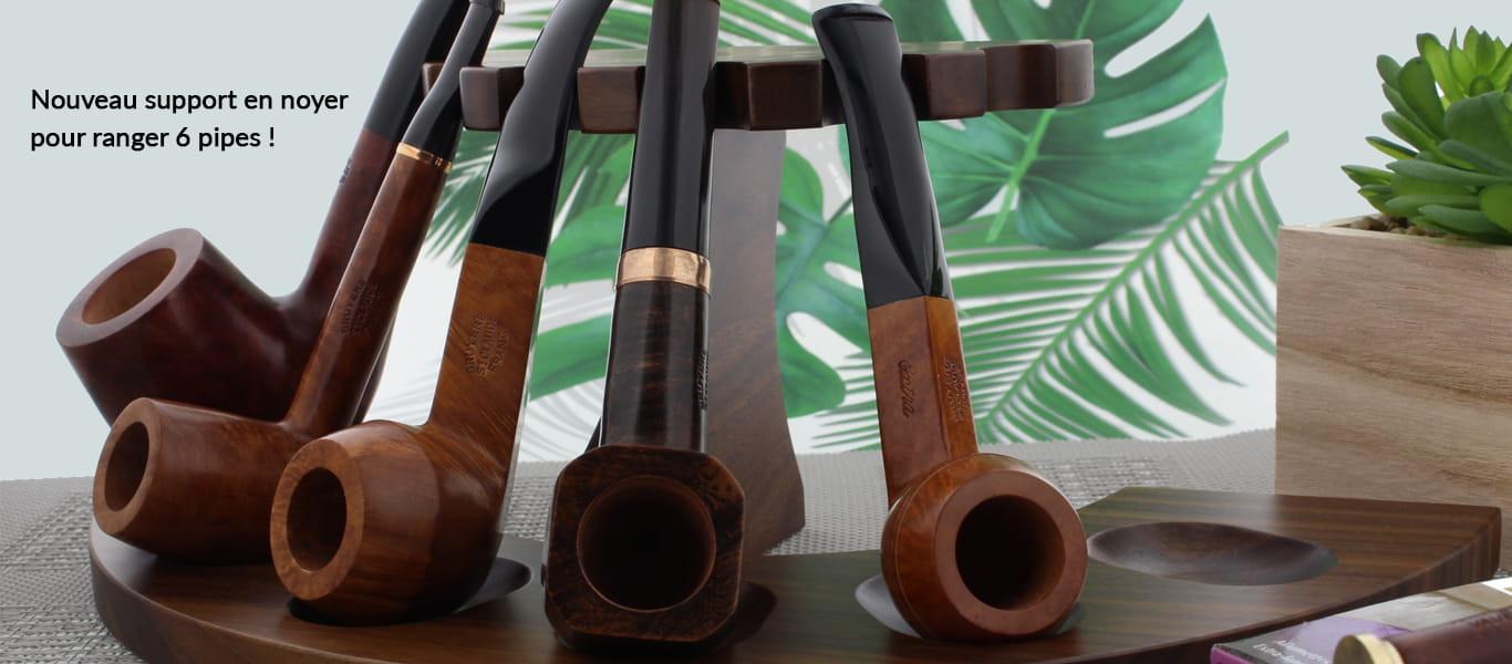 Support en noyer pour ranger 6 pipes
