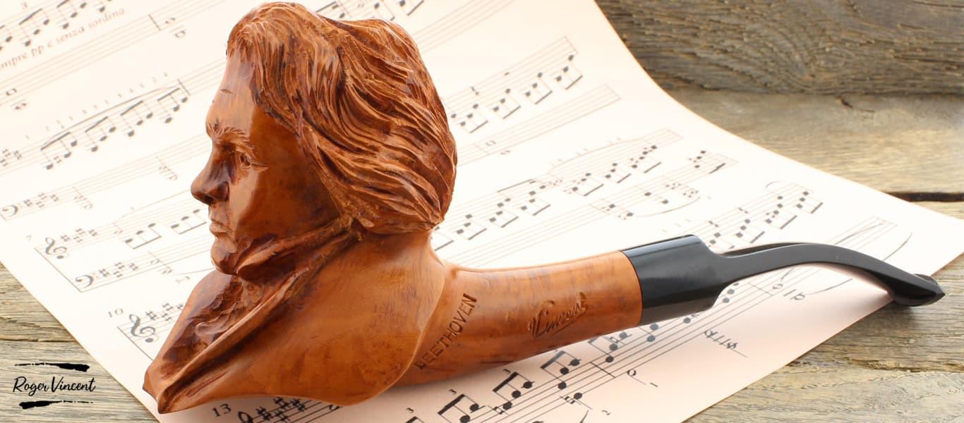Pipe sculptée Beethoven par Roger Vincent